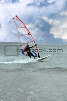 windsurfer in a storm
