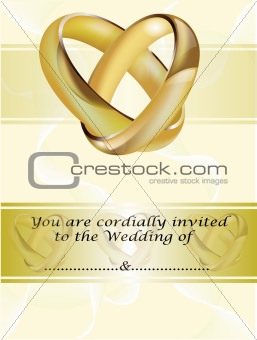 A wedding invitation card with gold rings