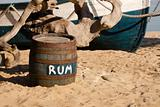 Barrel of rum on the seashore