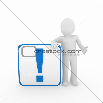3d man human blue exclamation mark  cube