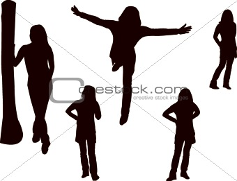posing girl - vector