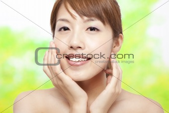 Beautiful woman face with skin care concept