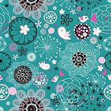 Light floral pattern with birds in love