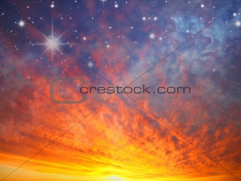 Sky and stars in fire