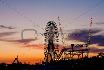 Amusement park in the sunset light