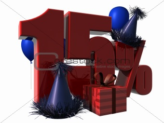 3D Render of 15 percent sale sign
