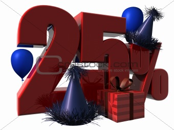 3D Render of 25 percent sale sign