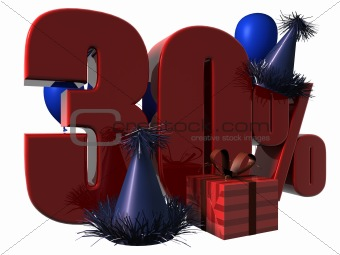 3D Render of 30 percent sale sign