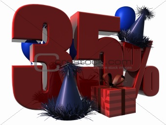 3D Render of 35 percent sale sign