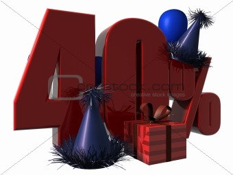 3D Render of 40 percent sale sign