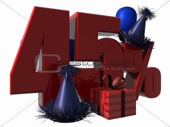3D Render of 45 percent sale sign
