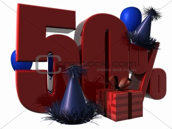 3D Render of 50 percent sale sign
