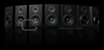 3D Render of loud speakers