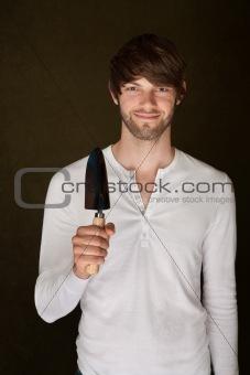 Smiling Man Holding Trowel