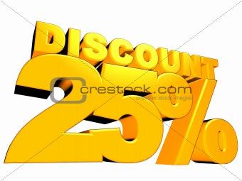 3D 25% Discount Sign