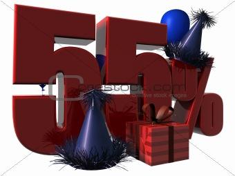 3D Render of 55 percent sale sign