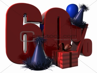 3D Render of 60 percent sale sign