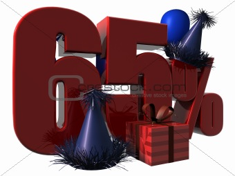 3D Render of 65 percent sale sign