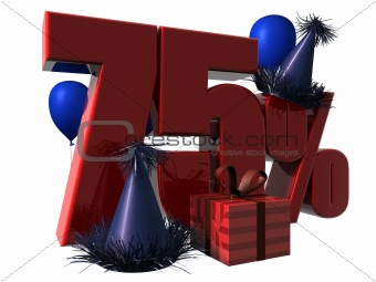 3D Render of 75 percent sale sign