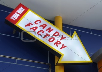 Candy factory sign