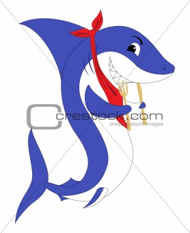 A shark with the fork and knife