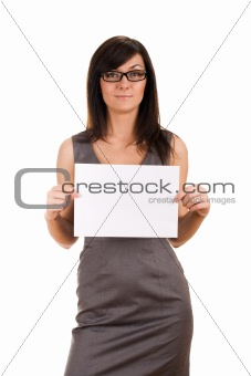 Business woman holding blank board