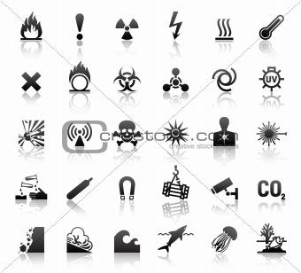 black symbols danger icons