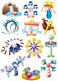 cartoon playground icon set