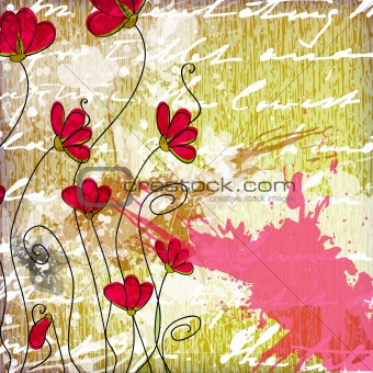 Greeting card in grunge or retro style.