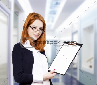 Portrait of the business woman with a represent folder.
