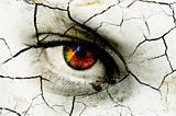 Dark art texture of a woman&#39;s eye with cracks