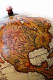 Part of an old globe showing america and mexico