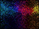 Multicolor abstract lights disco background. Square pixel mosaic