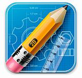 Vector technical drawing square XXL icon