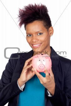 African girl with a moneybox