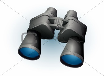 Binoculars on white background vector