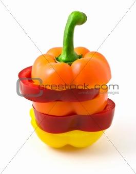 sliced multi-color pepper