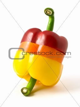 sliced three-color pepper