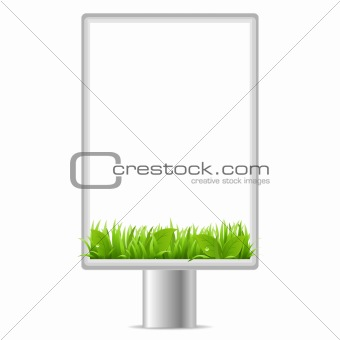Blank Vertical Billboard With Grass