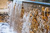 Artificial waterfall with blurry background