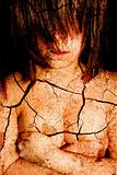 Dark art portrait of a girl with cracks
