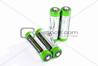 Four rechargeable batteries isolated on white background