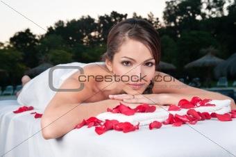 Beautiful woman at a day spa