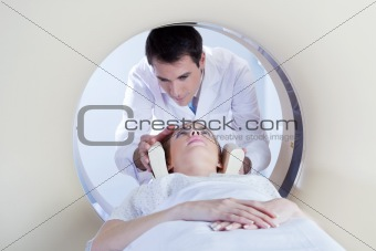 Patient going through MRI test