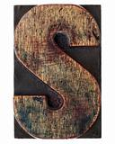 letter S in vintage wood type