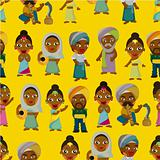 Vector of cartoon Indian seamless pattern