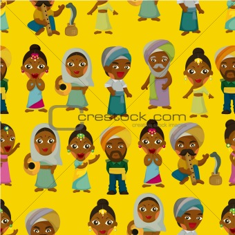 Vector of cartoon Indian seamless pattern