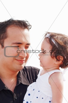Father and daughter watching each other