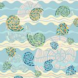 vector background with sea shells and waves