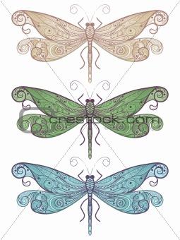 three vector unique dragonflies